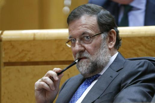 El presidente del Gobierno, Mariano Rajoy, durante el pleno del Senado.