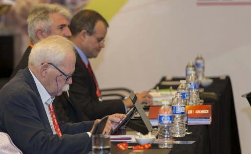 El presidente de la Federació de Bàsquet de les Illes Balears, Jaume Estarellas, durante la Asamblea del sábado.