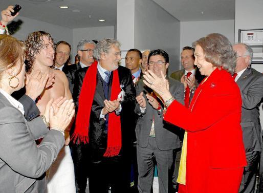 La Reina felicitó a los jugadores en los vesturarios.