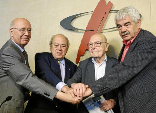 Joan Rigol, Jordi Pujol, Heribert Barrera y Pasqual Maragall, en su llamamiento a la sociedad catalana.