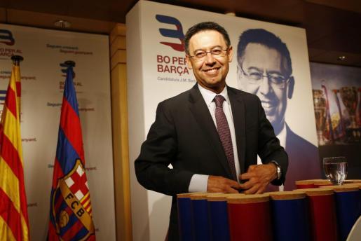 El expresidente del Barça Josep Maria Bartomeu en la presentación de su candidatura a la presidencia del club. Foto: ALEJANDRO GARC