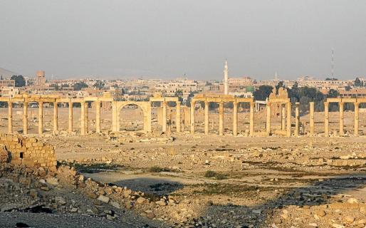 Fotografía de archivo de la antigua ciudad de Palmira en Siria.