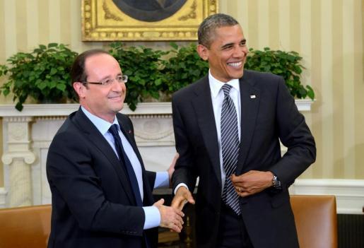Barack Obama saluda a su homólogo francés Francois Hollande en la Casa Blanca, en una imagen de 2012.