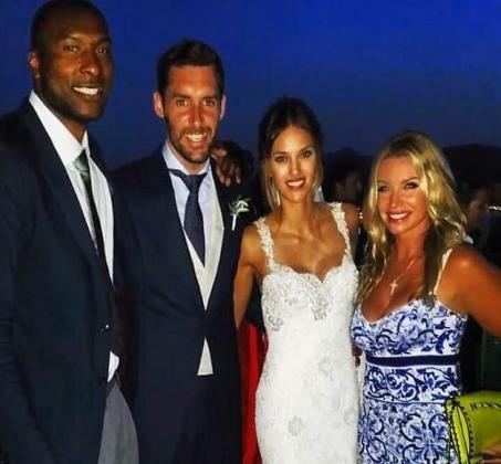 Marcus Slaughter, Rudy Fernández, Helen Lindes y Jennifer Bianchi, tras la boda.