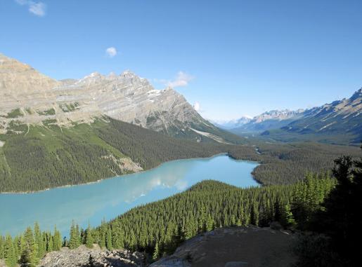 El lago Peyto es uno de los paisaje más bonitos de Canadá.