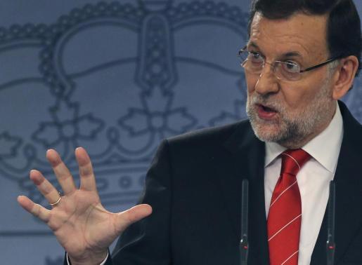 El jefe del Gobierno, Mariano Rajoy, durante la rueda de prensa conjunta con el presidente de Perú, Ollanta Humala.