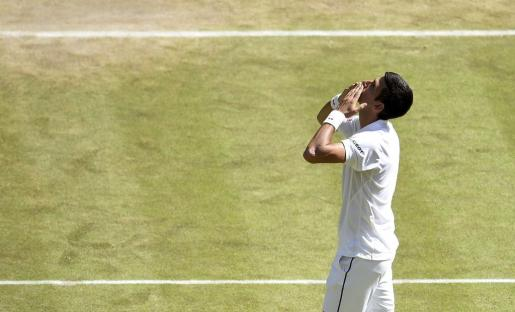 Novak Djokovic en su celebración después de vencer al francés Richard Gasquet.