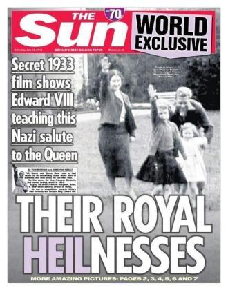 La portada del diario 'The Sun' con la reina Isabel II haciendo el saludo nazi.