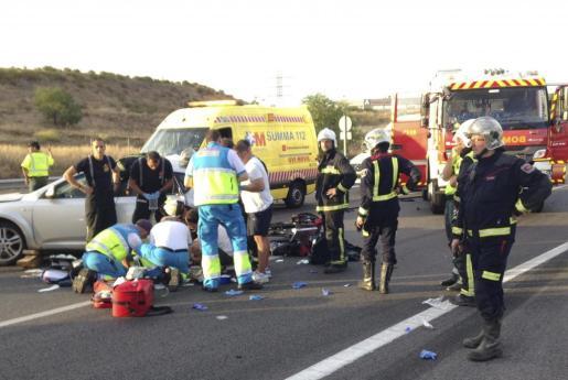 Fotografía facilitada por la Comunidad de Madrid del accidente.