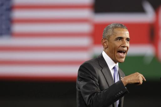 Obama en un momento del discurso pronunciado en el Safaricom Arena de Nairobi.