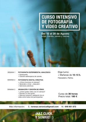 Cartel del curso intensivo de fotografía y vídeo creativo.