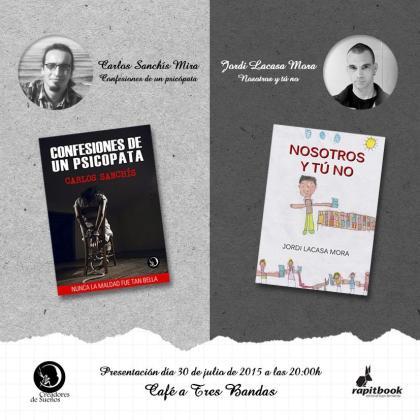 Cartel promocional de la presentación de sus nuevos libros.