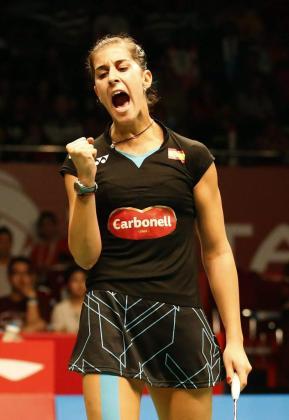 Carolina Marín celebra su victoria ante Sung Ji Hyun.