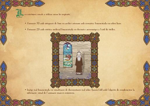 Este proyecto sobre la figura de Ramon Llull combina la animación 2D y 3D y utiliza una estética medieval.