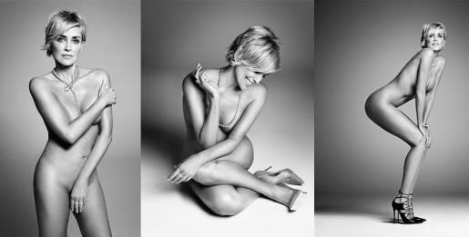 Montaje fotográfico con tres de las imágenes de la actriz Sharon Stone en su último reportaje.
