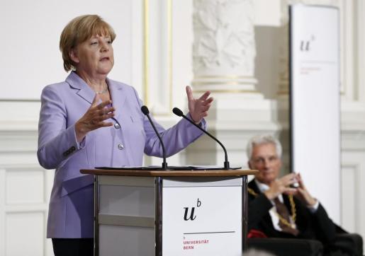 La canciller alemana Angela Merkel durante un acto este jueves en Suiza.