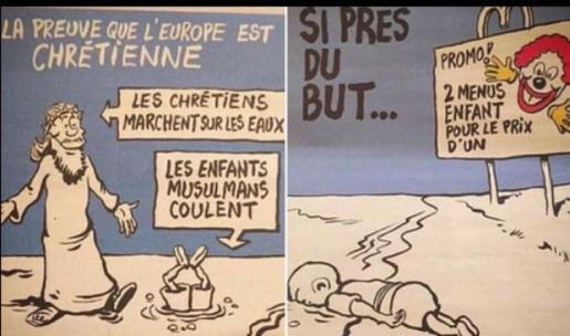 La revista satírica francesa 'Charlie Hebdo' se burla de la muerte del pequeño Aylan.