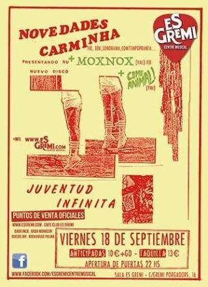 Cartel del concierto de Novedades Carminha en Es Gremi.
