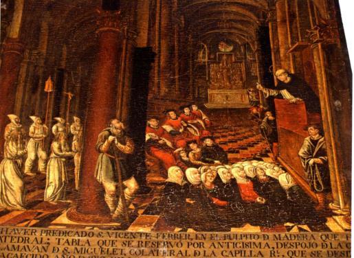 Una tabla, conservada en el museo de la Catedral de Mallorca, en la que se representa a Sant Vicenç Ferrer ofreciendo un sermón en la Seu.