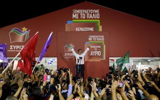 Alexis Tsipras celebra la victoria en las elecciones.