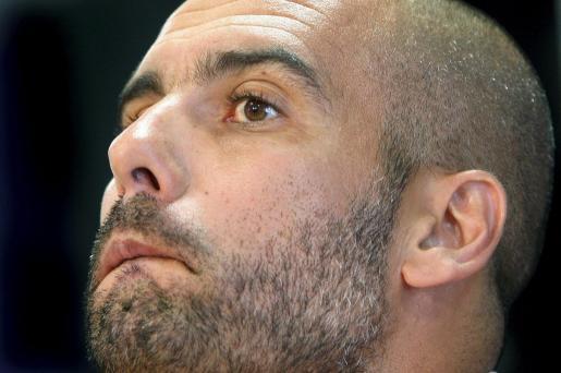El entrenador del FC Barcelona, Pep Guardiola, durante la conferencia de prensa de esta mañana.