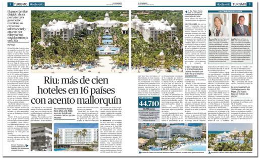 Imagen de las páginas del reportaje sobre la cadena hotelera Riu.
