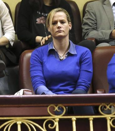 Zaida Cantera, en la tribuna de invitados del Congreso, durante una sesión de control.