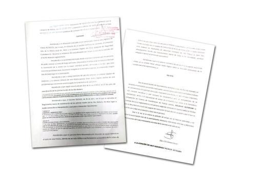Los documentos de petición de arma cursados por los agentes.