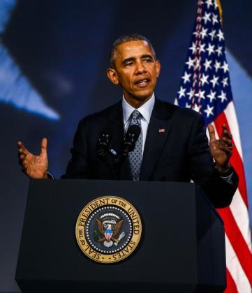 El presidente de los Estados Unidos Barack Obama realiza un discurso durante un acto en Chicago.