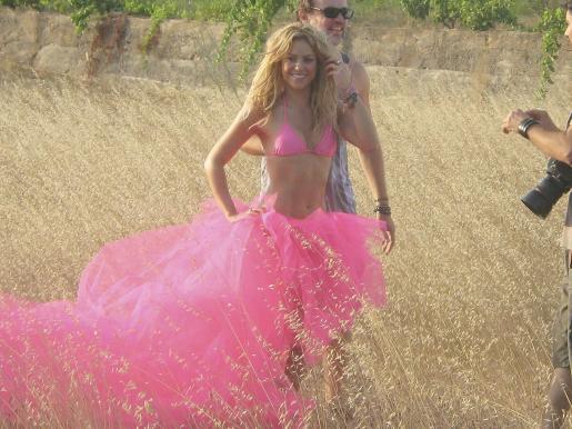 La cantante colombiana Shakira durante el rodaje de un anuncio en Ibiza.