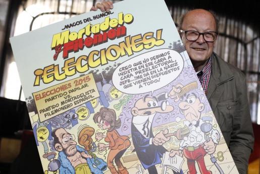 Ibáñez sujeta la portada de la nueva entrega de Mortadelo y Filemón