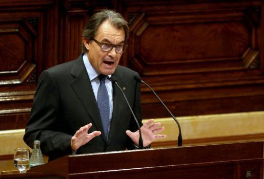 El presidente de la Generalitat en funciones, Artur Mas, durante su intervención en el debate de investidura.
