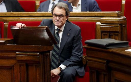 El presidente en funciones de la Generalitat tras ser rechazada en el Parlament su candidatura para presidir nuevamente el Govern catalán. El jueves habrá una nueva votación.