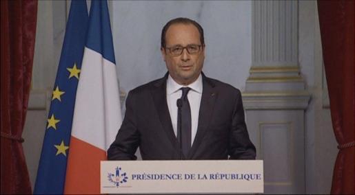 El presidente francés, François Hollande, durante su discurso.