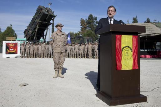 El presidente del Ejecutivo, Mariano Rajoy, durante su intervención en la visita que ha realizado al contingente de 150 militares españoles en Turquía.
