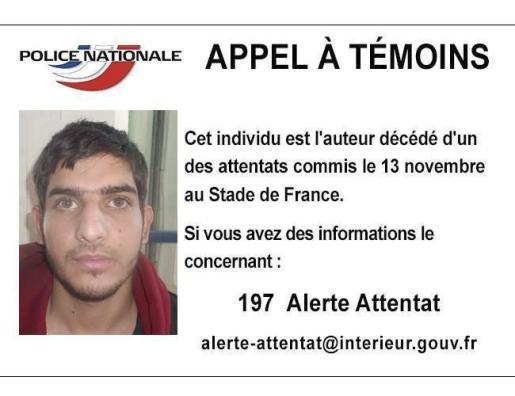 Fotografía sin fecha facilitada por el Ministerio de Interior francés que muestra a uno de los terroristas que perpetró el atentado suicida el pasado viernes en el Estadio de Francia, en Saint Denis.