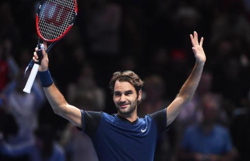 El suizo Roger Federer celebra su victoria.