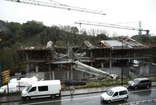 Imagen del edificio derrumbado en Urdax