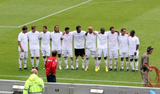 Los jugadores del Real Mallorca ya reivindicaron su derecho a competir en la Europa League en el césped.