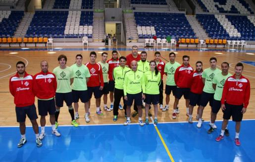 El Palma Futsal antes de una sesión de entrenamiento den Son Moix.