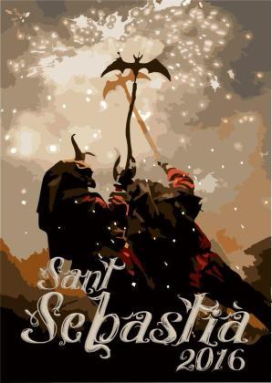 'Foc i fum', la ilustración ganadora del concurso de carteles para Sant Sebastià 2016.