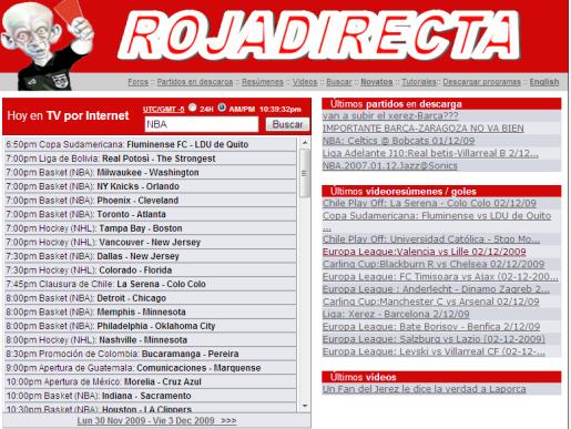 Imagen de la web Rojadiecta.me