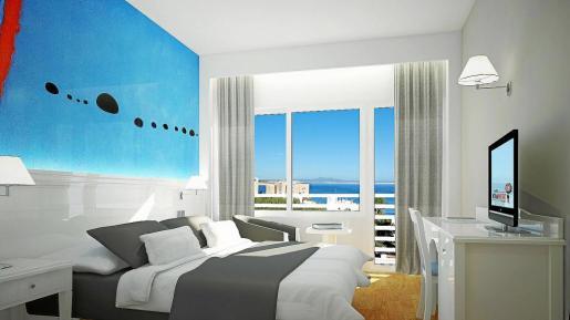 Imagen virtual de una de las 97 habitaciones del hotel de cuatro estrellas que está ubicado a menos de 300 metros de la Fundació Pilar i Joan Miró.