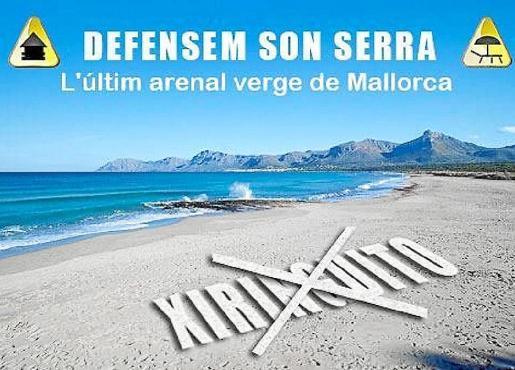 Cartel de la campaña en contra de la instalación de un chiringuito en Son Serra de Marina.