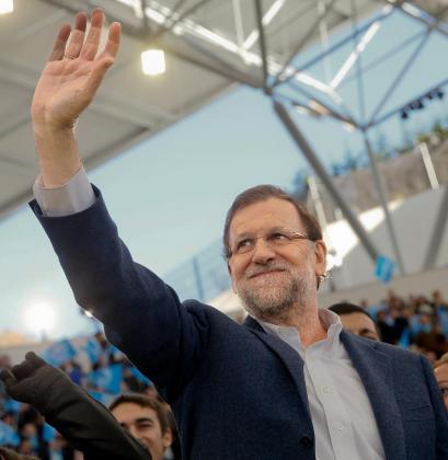 El presidente del Gobierno, Mariano Rajoy, durante el acto central de su partido que se ha celebrado en la plaza de toros de la localidad madrileña de Las Rozas.