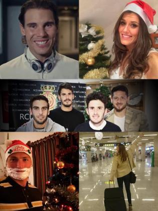 Montaje de las felicitaciones de Rafael Nadal, Gaby Ocete, los jugadores del Real Mallorca, Marcus Cooper y Melani Costa.