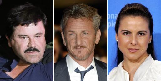 De izquierda a derecha, Joaquín 'El Chapo' Guzmán, el actor Sean Penn y la actriz Kate del Castillo.
