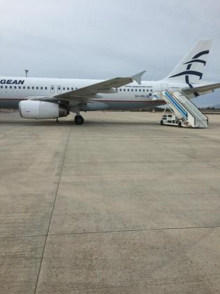 Imagen del avión que ha aterrizado en Palma ante la alerta de amenaza terrorista.