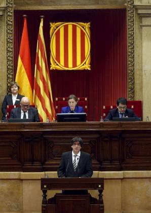 Puigdemont, durante su discurso.