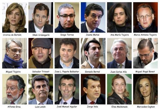 Combo de fotografías de archivo de la infanta Cristina, su esposo, Iñaki Urdangarin, y los otros 16 acusados en el juicio del caso Nóos.